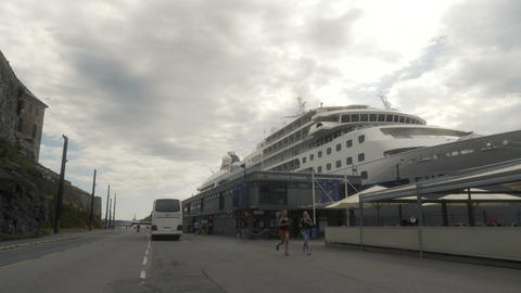 Cruise Ship Docked in Oslo Norway Live Action