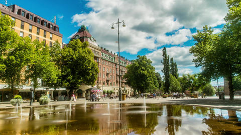 Downtown Orebro Sweden Fountain Time Lapse Live Action