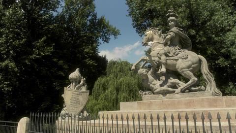 King John III Statue Royal Bath Gardens Warsaw Poland Live Action