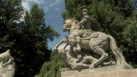 King John III Statue Trampling People Warsaw Poland Live Action