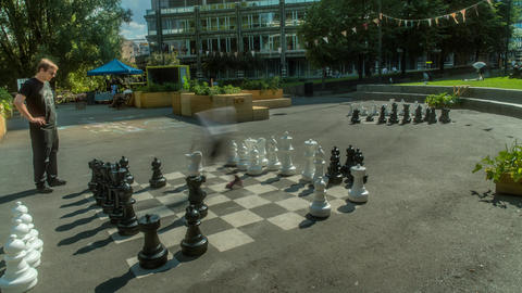 Playing Giant Chess in Oslo Norway Time Lapse Live Action