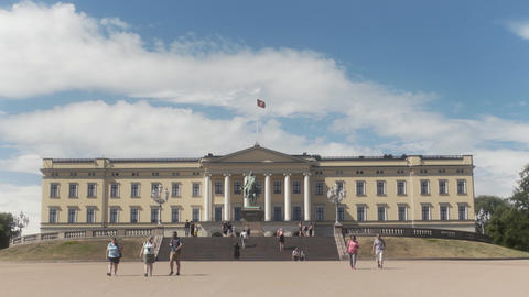 The Royal Palace in Oslo Norway Live Action