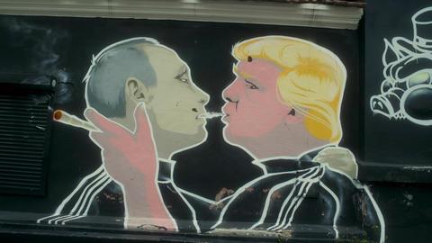 Famous Trump Kissing Putin Mural Footage