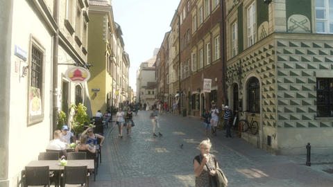 Shopping District Old Town Warsaw Poland Live Action