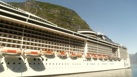 Massive Cruise Ship in The Norway Fjords Live Action