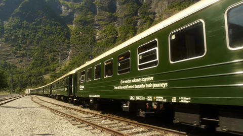 Train Departing from Flam Norway Live Action