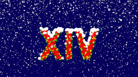 New Year text Roman numerals XIV. Snow falls. Christmas…, Stock Animation