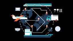 Global Logistics Network Animation Transparent Vector Motion Graphics Loop Animation