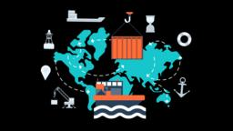 Maritime Transport Global Logistics Network Animation Transparent Vector video Animation