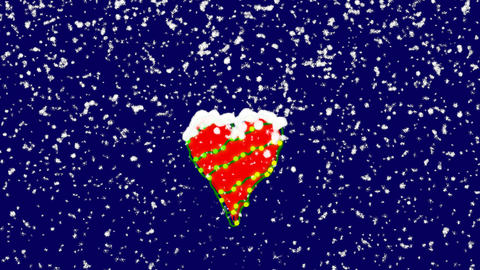 New Year text heart suit ii. Snow falls. Christmas mood, looped video. Alpha Animation