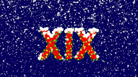 New Year text Roman numerals XIX. Snow falls. Christmas mood, looped video. Animation