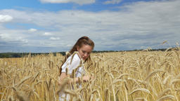 Woman Dancing in a Wheat Field Footage