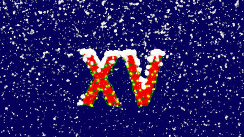New Year text Roman numerals XV. Snow falls. Christmas mood, looped video. Alpha Animation