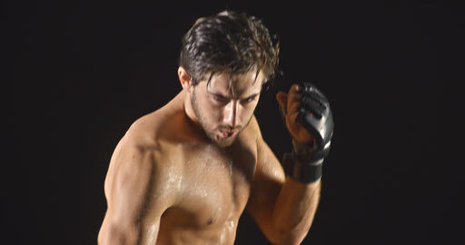 Athletic Male Boxing Slow-Motion Footage