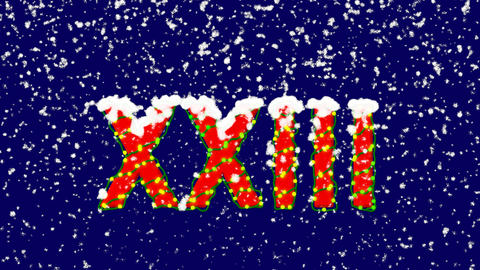New Year text Roman numerals XXIII. Snow falls. Christmas mood, looped video. Animation