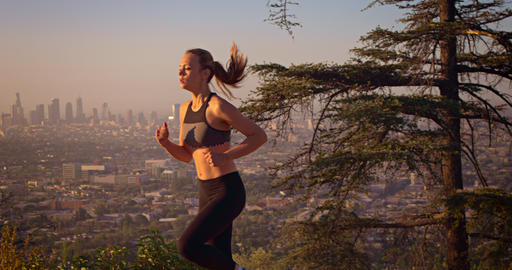 Fit Woman Jogging Los Angeles Slow-Motion GIF