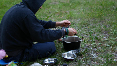 Picnic food porridge pot Footage