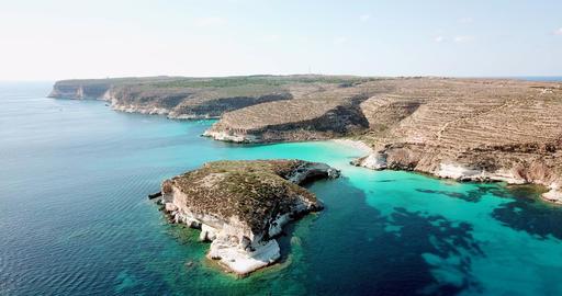 Coastline And Isola Dei Conigli Lampedusa Italy Sky View Archivo