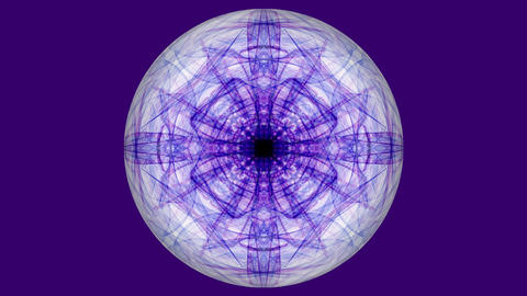 Sphere with purple fractal patterns on dark purple background. Tunnel motion in GIF