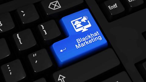 91. Blackhat Marketing Rotation Motion On Computer Keyboard Button Footage