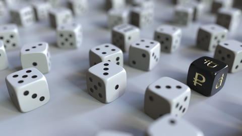 Dice with Russian ruble sign among scattered gambling dices. Forex success or Fotografía