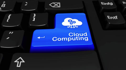 98. Cloud Computing Round Motion On Computer Keyboard Button Footage