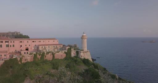 Portoferraio Coast Lighthouse Aerial View Footage