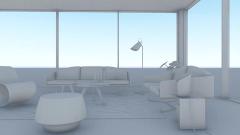 Minimalist White Room with modern furnitures Animation