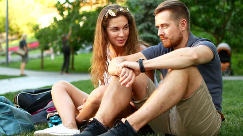 happy couple having fun in university park . Concept of freedom youth lifestyle Footage