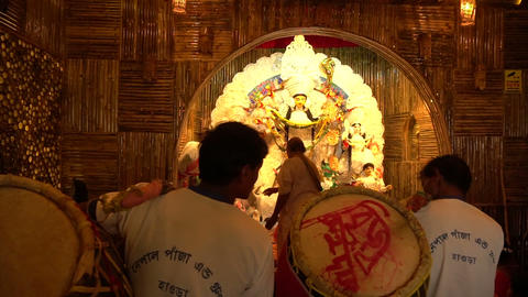 Priest worshipping Goddess Durga, Durga Puja festival celebration Footage