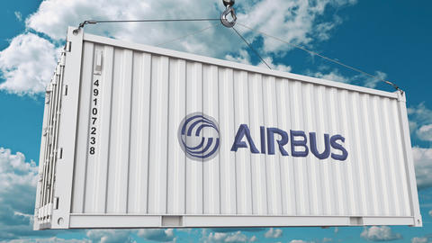 Airbus logo on an industrial container. Editorial animation Footage