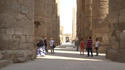 LUXOR, EGYPT - September, 2018: Turists walking in Karnak Temple in Luxor, Egypt GIF