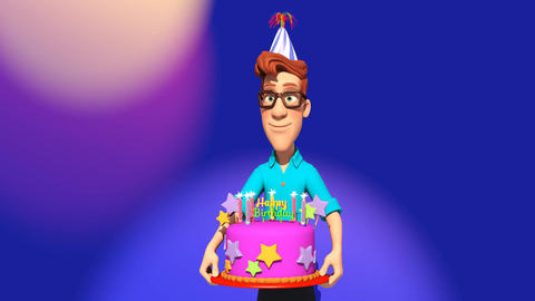 Cartoon Man delivering a Birthday cake Animation