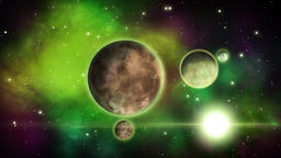 Sci-fi planets with satellites circling around them. Space background.. Loop Footage
