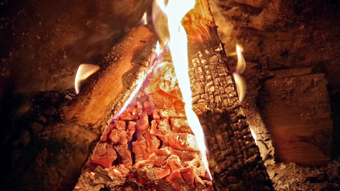 Fireplace with embers Footage