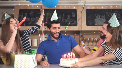 Man Blows Birthday Candles Footage