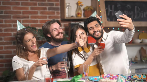 Friends Take Selfie at Party Footage