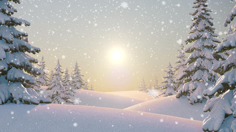 Morning in the Forest, Beautiful Winter Background Animation