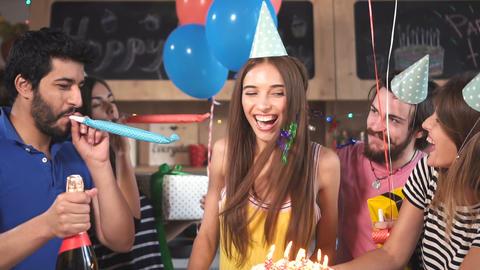 Friends Congratulate Birthday Girl Archivo