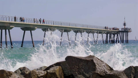 Cinemagraph of Footbridge over the sea with people walking.Time Lapse 영상물