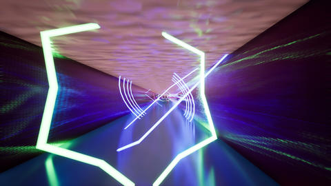 Corridor with ultraviolet light luminous lamps Footage