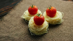 Rolled spaghetti with tomatoes Footage