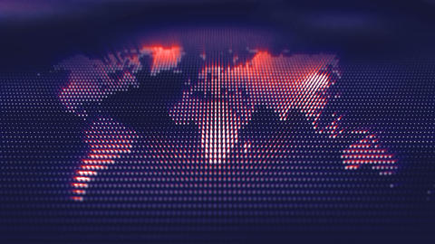 World map corporate background with lights and digital waves of particles moving Animation