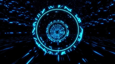 3D Blue Sci-Fi Stargates Tunnel VJ Loop Motion Background CG動画素材