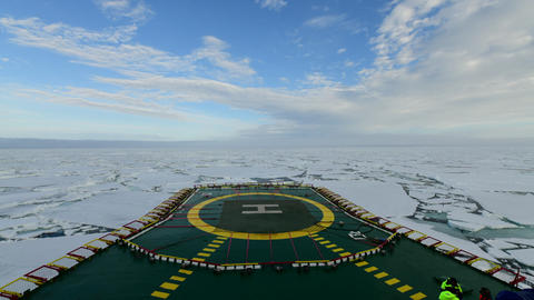 Icebreaker going through the ice fields, Arctic Footage