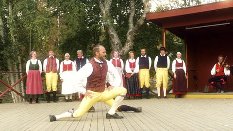 Traditional Swedish Folk Tradition Slow Motion Stock Video Footage