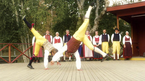 Traditional Swedish Folk Dance Slow Motion Footage
