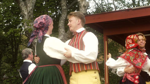 Dancers Performing Traditional Swedish Dance Slow Motion Footage