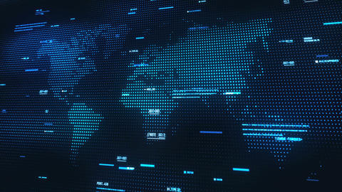 World map abstract futuristic background with information moving. Texture of a Animation