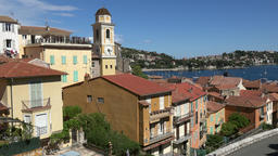 France Cote d'Azur Villefranche sur Mer cityscape seen from above Footage